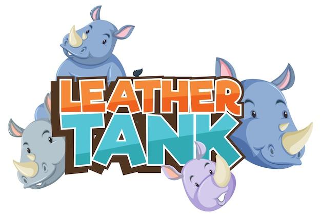 가죽 탱크 글꼴 배너 절연 코뿔소 만화 캐릭터