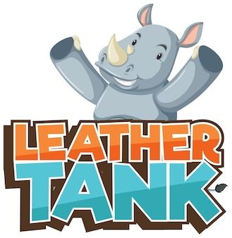 Personaggio dei cartoni animati di rinoceronte con carattere tank in pelle