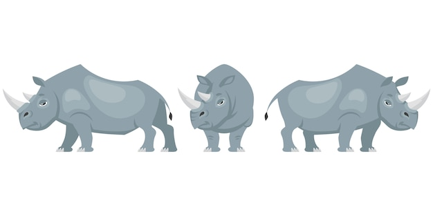 Rhinoceros in different poses illustration