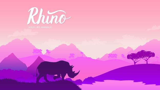 Носорог уходит на дизайн водопоя. дикое животное против концепции природы африки.