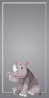 A rhinoceros on grey border