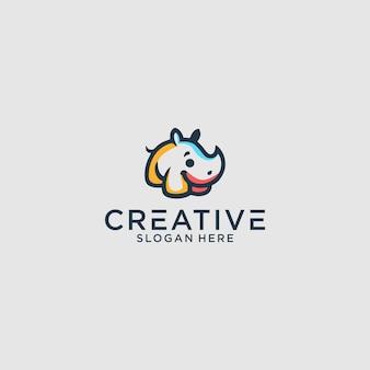 Графический дизайн логотипа носорога для другого использования идеально подходит