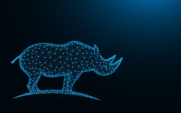 Rhinoceros low poly design, mammal animal abstract geometric image, zoo wireframe mesh polygonal vector illustration made from points and lines