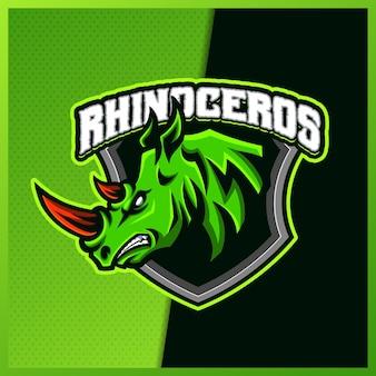Rhinocerosマスコットeスポーツロゴデザインイラストベクターテンプレート、チームゲームストリーマーyoutuberバナーけいれん不和、フラット漫画スタイルのサイのロゴ