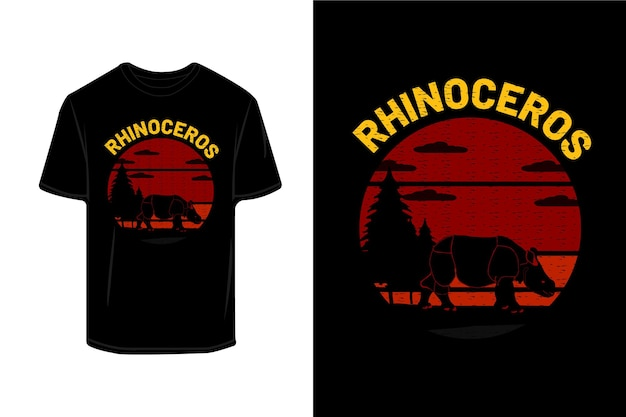 코뿔소 실루엣 복고풍 티셔츠 이랑 디자인