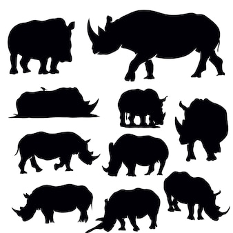 Rhinoceros silhouette set