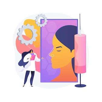 Illustrazione di vettore di concetto astratto di rinoplastica. procedura di correzione del naso, rinoplastica non chirurgica, cambiamenti di forma del naso, problemi respiratori, rimodellamento estetico rischi metafora astratta.