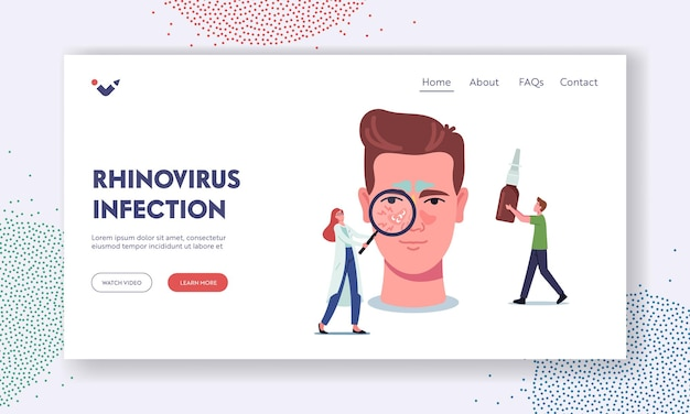 Шаблон целевой страницы о риновирусной инфекции. крошечный персонаж доктора со стеклом, представляющим болезнь на огромной мужской голове, средство от лечения носа. респираторная болезнь. мультфильм люди векторные иллюстрации