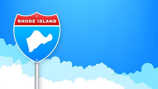 도 표지판에 로드 아일랜드 지도입니다. 로드 아일랜드 주에 오신 것을 환영합니다. 벡터 일러스트 레이 션.