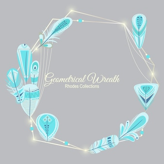 Rhodes geometrical wreath indian feathers with lights