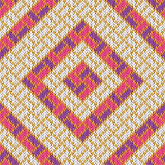 Rhombic woolen cozy knitted seamless pattern with gold streaks