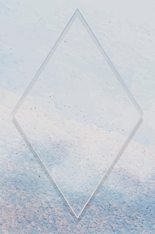 Rhombus frame on light blue paint textured background vector
