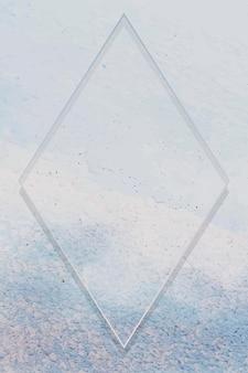 밝은 파란색 페인트 질감 배경 벡터에 마름모 프레임