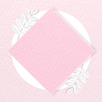 Cornice a rombo su sfondo rosa con motivi botanici