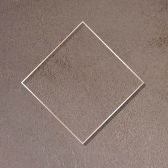Rhombus gold frame on brown background vector