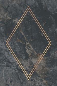 회색 대리석 배경 벡터에 마름모 골드 프레임
