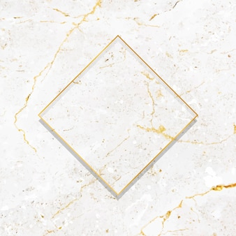Rhombus gold frame on white marble background vector