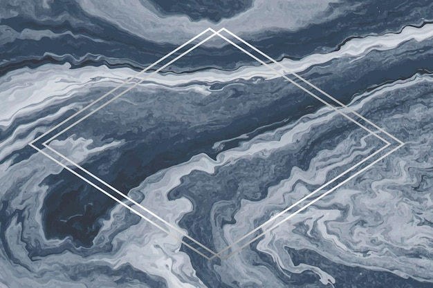 Rhombus silver frame on blue marble background