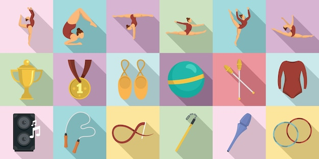 Rhythmic gymnastics icons set