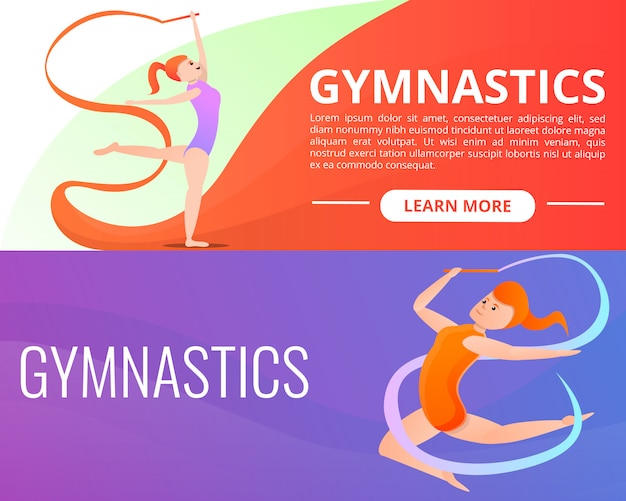 Rhythmic gymnastics illustration set on cartoon style