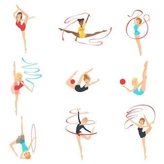 さまざまな装置での新体操トレーニング
