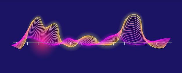 Спектр ритмичных звуковых волн, изолированные на темном фоне