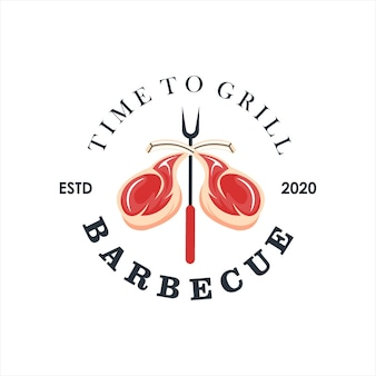 Шаблон дизайна логотипа барбекю рибай