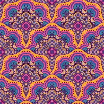 リバルインドのお祭りのシームレスなデザイン。明るくカラフルな曼荼羅アートパターン。