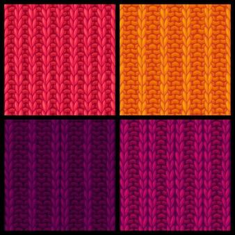 リブ編みダブルリブ編みの編み物の質感とシームレスなパターン