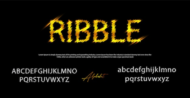 Ribble style font, alphabet and numbers,