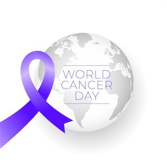 Лента и земля на фоне всемирного дня рака