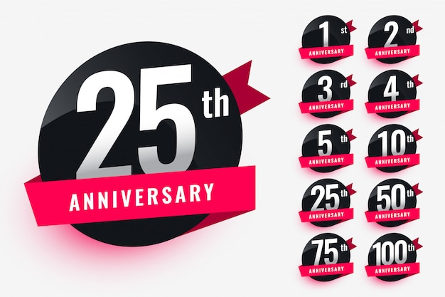 Ribbon anniversary labels set design