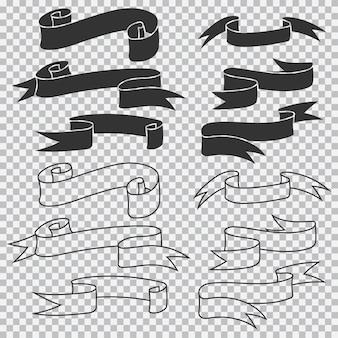 리본 배너 검은 실루엣 벡터 집합 흰색 배경에 고립.