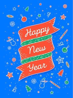 Ribbon banner in bright colorful style with text happy new year