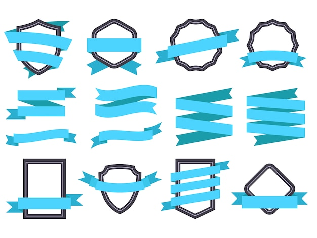 Ribbon banner. frames and ribbons blue flat isolated  set
