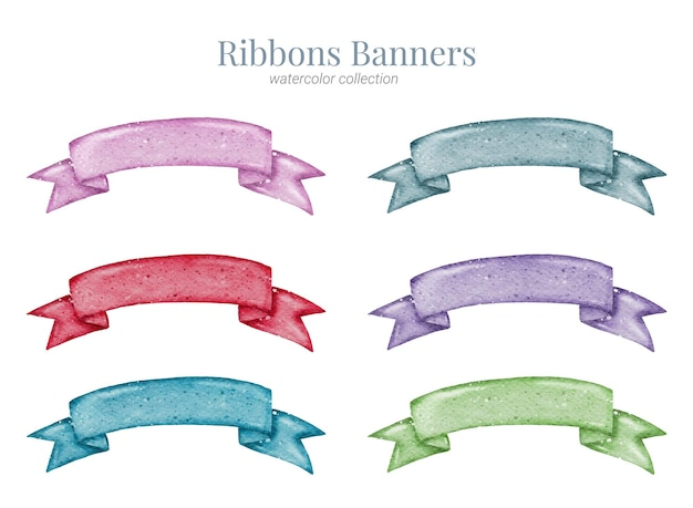 Ribbon banner hand paint watercolour collection