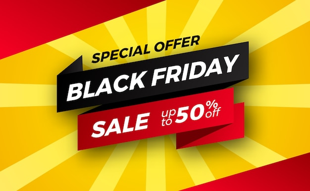 Ribbon banner label for black friday sale offer discount for retail commerce shopping.