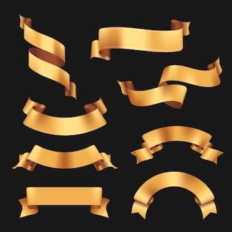 Ribbon banner vector art, gold realistic label design set