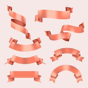 Ribbon banner vector art, rose gold realistic label design