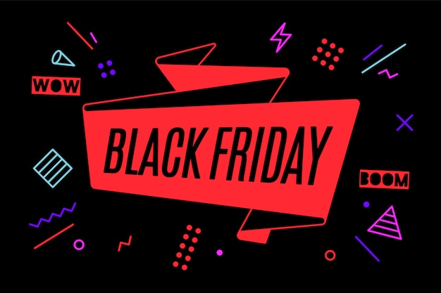 Ribbon banner with text black friday