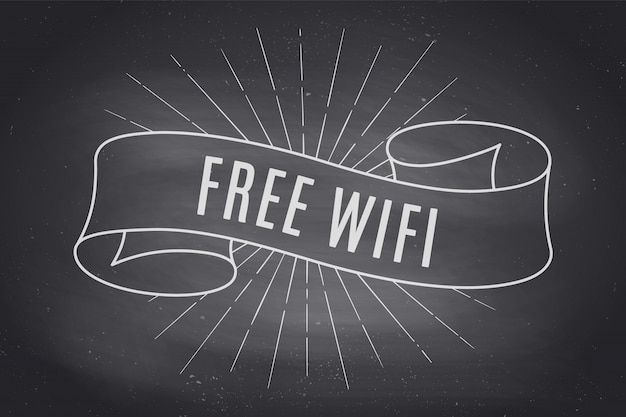 Ribbon banner with text free wifi