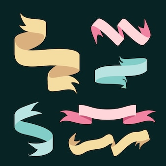 Ribbon banners doodle style set vector