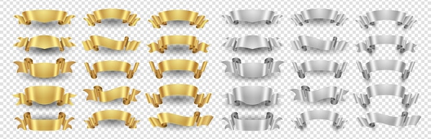Ribbon banners. gold silver ribbons set. metallic banners isolated on transparent background. illustration ribbon gold and silver design decoration