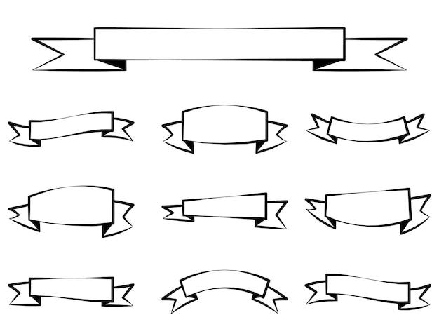 리본 배너 세트에 고립 된 흰색 배경 벡터