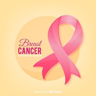 Ribbon breast cancer awareness realistic