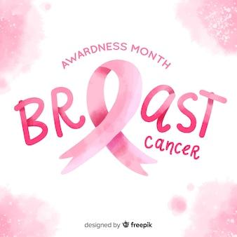 Ribbon breast cancer awareness watercolor