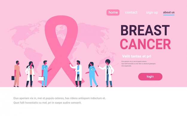 Ribbon breast cancer day mix race male female doctors group forum communication banner