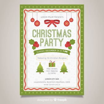 Ribbon christmas party poster template