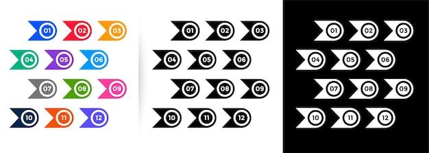 Numeri di punto elenco in stile nastro e cerchio