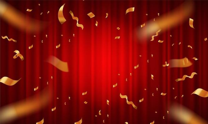 赤いカーテンのリボンカットセレモニーポスター。ベクトルイラスト
